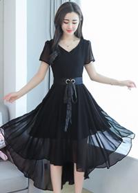 2018夏装新款流行女装韩版显瘦雪纺连衣裙中长款夏天小香风裙子潮