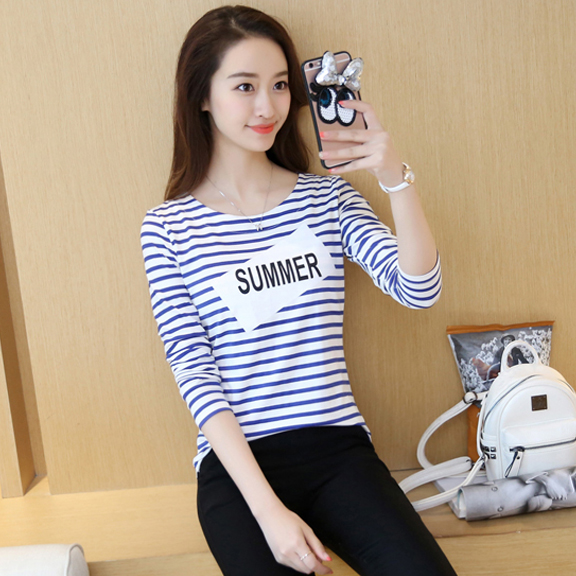实拍 2016韩版女装秋装新款条纹长袖T恤字母印花百搭上衣1627款