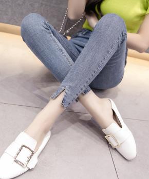 高腰牛仔裤女九分18春季新弹力韩版高弹紧身显瘦浅色小脚A8203#