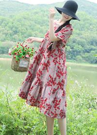 8498#实拍文艺复古连衣裙18夏装新品高腰大码碎花裙子民族风女装