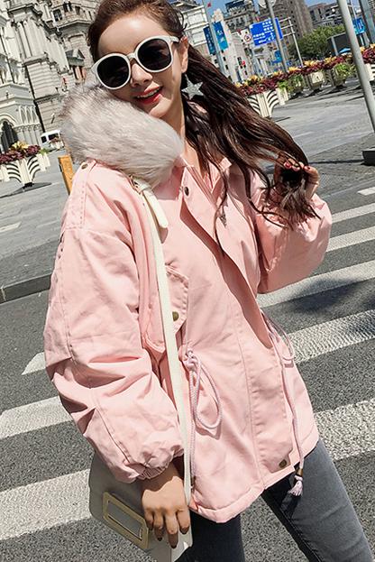 617#实拍冬季新款林珊珊同款羽绒服女 韩版超大毛领休闲棉衣外套