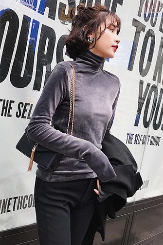 2017冬季新款女装chic上衣 高领长袖t恤修身加厚丝绒打底衫女秋冬