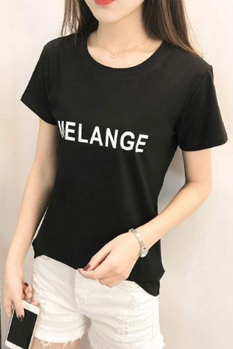 实拍(已出货)纯棉印花字母圆领短袖T恤女(纯棉95棉5氨)501