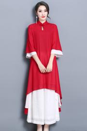 实拍8013# 女装中国风红色唐装套装茶服文艺复古雪纺连衣裙禅服女