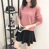 毛衣女新款春装韩版毛衣打底针织衫女套头短款纯色修身上衣外套