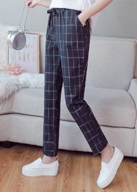 视频实拍格子裤学生裤韩版女裤哈伦裤宽松显瘦休闲裤九分裤子潮