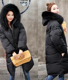 2017冬新款林珊珊同款韩版貉子大毛领中长款羽绒服女加厚修身显瘦