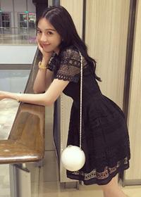 夏韩版甜美名媛气质修身显瘦勾花镂空蕾丝a字短袖连衣裙短裙8004
