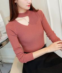 春季新款韩版打底针织衫修身性感秀锁骨百搭时尚毛衣女