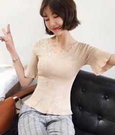 2018夏季新款韩版修身针织露背时尚短荷叶袖T恤女