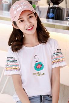 610#实拍2018夏韩版基础圆领 宽松直筒 棉质短袖T恤上衣女