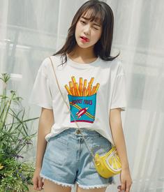 9157#实拍夏新款短袖情侣闺蜜装薯条图案印花白色打底T恤女
