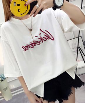 【实拍】2018新款现货 6535精梳棉  胖mm女绣花T恤