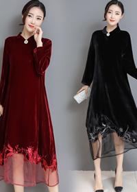 实拍1515#2018春季新款高端丝绒透明网纱立体三维绣花显瘦连衣裙
