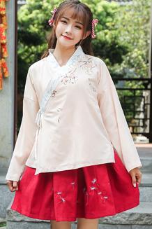 461#18春夏女装新款民族风汉服刺绣V领二件套