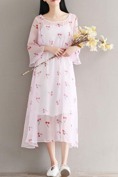 梅子熟了2018夏装新款 文艺碎花雪纺连衣裙 复古系带两件套裙子女