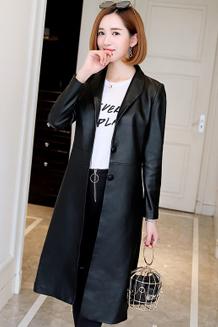2017春秋新款韩版PU皮外套女风衣中长款胖MM大码修身气质皮衣