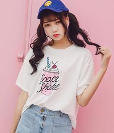 9171#实拍夏季欧美街头粉色冰淇淋雪糕印花短袖t恤女宽松大码上衣