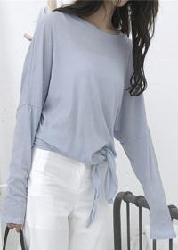 (现货)3007【模特实拍】韩版女宽松圆领长袖T恤下摆打结纯棉上衣