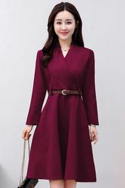 实拍8334#2018春装新款韩版中长款大摆连衣裙收腰显瘦裙(送腰带