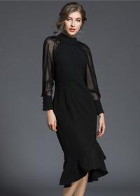 现货实拍5255-早春新品时尚气质长袖鱼尾修身连衣裙
