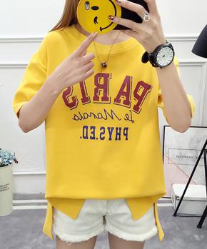 实拍2018夏季新款韩版宽松学生装印花圆领多色短袖T恤上衣
