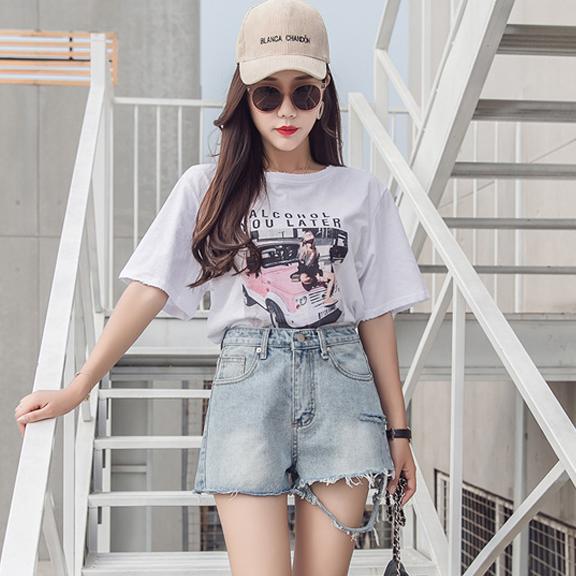 实拍韩版新款时尚百搭气质A字宽松破洞卷毛边女学生牛仔短裤A912