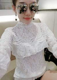 实拍现货2018春装新款长袖立领镂空时尚蕾丝衫T恤上衣825#