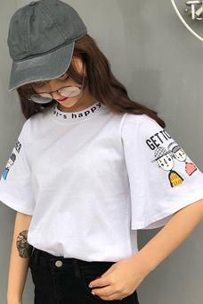 9523#实拍纯棉夏装ulzzang原宿风短袖女大码宽松卡通短袖t恤女潮