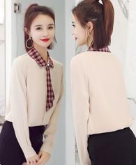 实拍2018春季新款女装韩版百搭长袖衬衣学院风职业装显瘦上衣8517