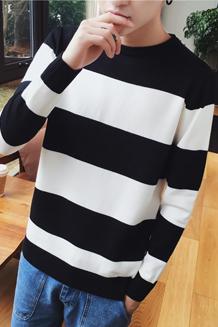 Y8141秋冬韩版男士毛衣套头圆领针织衫潮男条纹毛线衣BP32