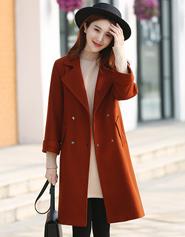 2017新款焦糖色毛呢大衣秋冬韩版女中长款收腰加厚腰带呢子外套妮