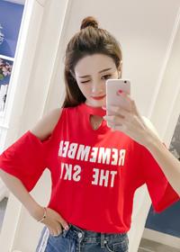 实拍现货2018夏季韩版短袖t恤女露肩宽松显瘦字母个性纯棉上衣