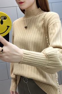 779#实拍灯笼袖慵懒风半高领毛衣秋新款套头宽松潮冬季针织打底衫