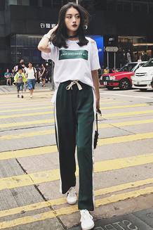 138  运动休闲套装女夏宽松字母印花T恤+开叉条纹阔腿裤两件套