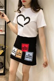 144# 学生短袖t恤套装裙女时尚字母半身a字裙两件套上衣休闲裙