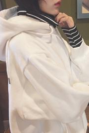 原宿风宽松bf长袖条纹高领假两件加绒套头连帽加绒卫衣女学生015#