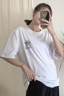 2018新款原宿风短袖T恤(牛奶丝180g双磨)1295#实拍