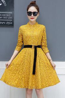 春装2018新款女韩版修身显瘦红色蕾丝连衣裙内搭中长款打底裙秋冬