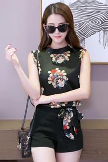 2017韩版夏季新款休闲时尚套装女装宽松显瘦无袖上衣短裤两件套潮