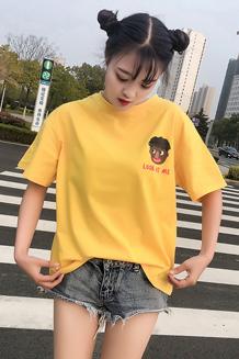 8001#实拍 bf风宽松圆领基础百搭卡通字母短袖T恤(65/35棉 )