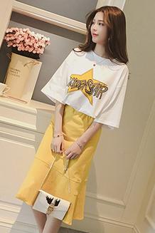 619  春夏季韩版字母短袖t恤休闲套装女荷叶边中长款半身裙两件套