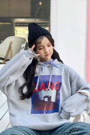 021#【实拍250克】 韩版蝴蝶结领口抽绳连帽加绒加厚套头卫衣