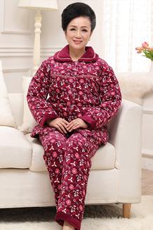 冬季中老年法兰绒妈妈睡衣女加厚大码珊瑚绒夹棉袄老人家居服套装