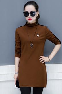 加绒高领打底衫女2017韩版新款中长款保暖百搭修身时尚长袖T恤女