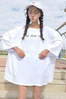 6954# 韩国夏装卡通印花七分袖T恤衫女学生原宿风宽松bf短袖上衣