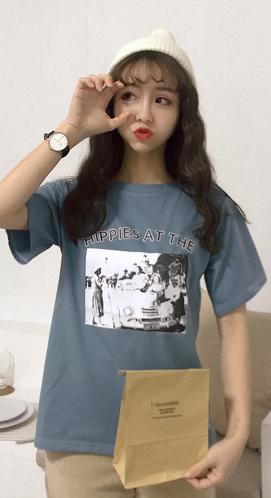 1210#【实拍】6535/ 韩版卡通原宿BF短袖T恤女