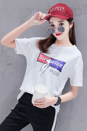 8220#【模特实拍 现货 不断货 2018新款 100%纯棉】宽松短袖T恤女