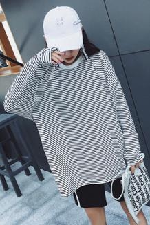 5776#【实拍】秋条纹宽松学生长袖T恤女装韩版外穿秋衣上衣打底衫