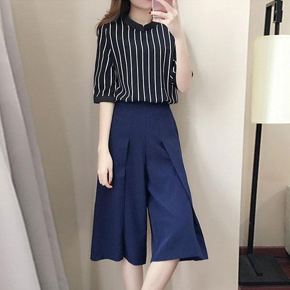 836#2017新款韩版女装时尚气质雪纺两件套小香风名媛阔腿裤套装潮